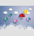 colorful umbrellas flying high in the air vector image vector image
