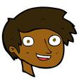 comic cartoon happy boy face vector image vector image