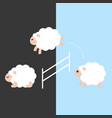 cute sheep jumping over a fence between day and vector image vector image