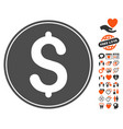 dollar coin icon with valentine bonus vector image vector image