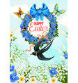 easter greeting card with spring flower wreath vector image