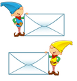 Elf Mascot Holding Big Letter vector image vector image