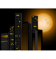 full moon and city scape with sky scrapers offices vector image vector image