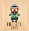 funny hipster bear vector image vector image