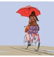 Girl on bike with umbrella autumn rain vector image