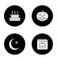 holidays glyph icons set vector image