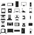 household appliances set black icon on vector image vector image