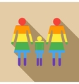 Lesbian couple with baby girl icon flat style vector image