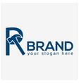 letter r hammer logo flat design vector image vector image