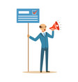 man holding placard election voting and megaphone vector image