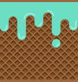 mint ice cream melted on wafer texture background vector image