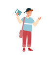 modern teenage student holding notebook and waving vector image vector image