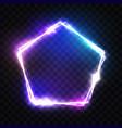 neon pentagon frame on transparent background vector image vector image