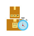 online shopping logistic clock cardboard boxes vector image