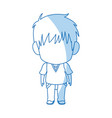 Outlined little boy anime hair style vector image