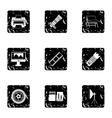 Photography icons set grunge style vector image