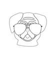 pug dog in glasses outline vector image vector image