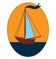 sailnig boat with blue flag on blue water in blue vector image vector image