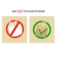 say no plastic bags card poster banner vector image vector image
