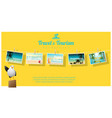 sea postcards displayed on colorful background vector image vector image