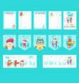 set cards with cute skiing animals vector image