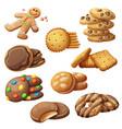 set delicious cookies cartoon vector image vector image