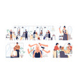 set hairdressers and barbers working vector image