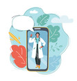 smartphone with female doctor vector image vector image