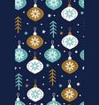snowflakes with christmas glass balls vector image vector image