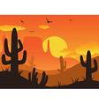 sunset cactus desert vector image vector image