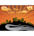 Sunset City and Road Silhouette2 vector image vector image