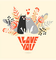 valentines day card with a couple cartoon cats vector image
