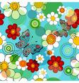 vivid blue floral seamless pattern vector image vector image