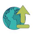 world with upload internet symbol vector image vector image