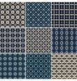 Set of 9 seamless geometric patterns vector image