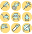 Flat line colored icons for construction equipment vector image