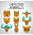 hipster animal icons set vector image