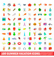 100 summer vacation icons set cartoon style vector image vector image