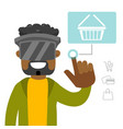 a black man in virtual reality headset doing vector image vector image