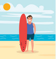 a surfer on beach with board young guy vector image vector image
