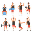 athletic sport man gym male fitness character vector image vector image