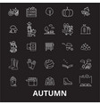 autumn editable line icons set on black vector image