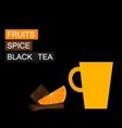 Black tea orange slice cinnamon vector image vector image