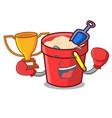 boxing winner sand bucket mascot cartoon vector image vector image