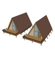 brown wooden house on white background vector image