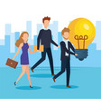 business people with bulb light idea vector image
