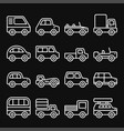 cars and trucks line icons set vector image vector image