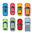 cars top view flat vehicle icons set vector image