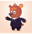 cartoon brown bear dressed up in office suit vector image