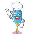 chef feather duster character cartoon vector image vector image